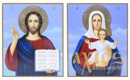 Written icons Wedding couple Leushinskaya Mother of God and Savior 20х24 cm - фото