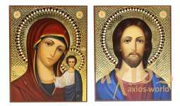 Writed icons Wedding couple Kazan Mother of God and Savior 16х20 cm - фото
