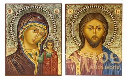 Written icons Wedding couple Savior and Kazan Mother of God 16х20 cm - фото