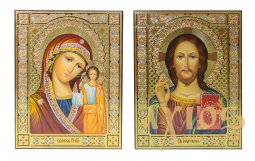 Writed icons Wedding couple Savior and Kazan Mother of God 22х17,5 cm - фото