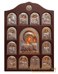 Home iconostasis of Holy Mother of God of Kazan 28x42 cm - фото