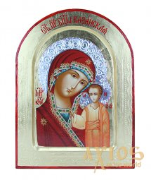Icon of the Blessed Virgin Mary of Kazan in gilding Greek style, arched, 21x29 cm, only in Axios - фото