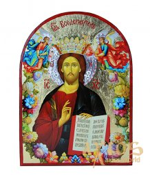 Icon of the Savior in Greek style with gold and silver, arched, 21x29 cm. Unfading color. Only in Axios - фото