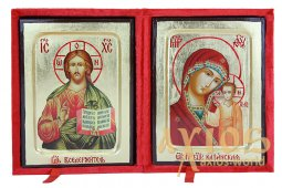 Wedding couple Icon Savior 13x17 cm and Our Lady of Kazan 13х17 cm in Greek style on gold (a pair in a velvet box) - фото