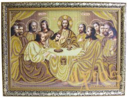 "The icon ""The Last Supper"", embroidered with beads, under glass, 66х50 cm - фото"