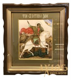 The written icon of St. George the Victorious is 27x31 cm, in a wooden kiot under the glass (Miracle of George of the Dragon) - фото