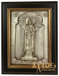 Icon in metal Natalia, silver-plated, frame made of wood, 9х11 cm - фото