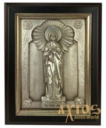 Icon in metal Anna, silver-plated, frame made of wood, 9х11 cm - фото