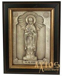 Icon in metal Irina, silver-plated, frame made of wood, 9х11 cm - фото
