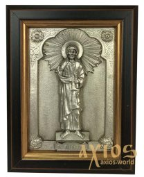 Icon in metal Peter, silver, frame made of wood, 9х11 cm - фото