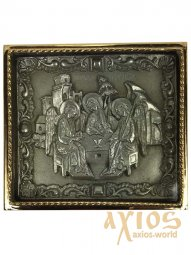 Icon in metal Trinity, silver-plated, gilt frame, 5x5 cm - фото