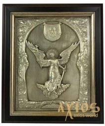 Icon in metal Angel the Guardian, silver-plated, frame made of wood, 11x14 cm - фото