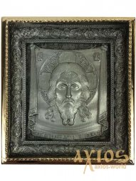 Icon in metal Savior, silver-plated, gilt frame, 5x5 cm - фото