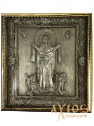 Icon in the metal of the Intercession, silver-plated, gilt frame, 8x8 cm - фото