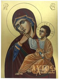"A written icon on a tree, gold leaf, the Virgin ""Otrada and solace"", 30х40 cm - фото"