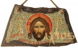 Written icon on the stone of the Savior Not Made by Hands 37х23 cm - фото