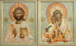 Wedding couple Icon of the Savior and the Virgin Mary, board, gesso, egg tempera, gilding, 34x28 cm - фото