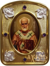 The written icon of Saint Nicholas 7,5x10 cm, in a silver and gold, is encrusted with amethysts - фото