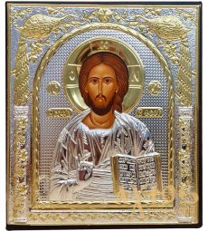Icon of the Savior. Rectangular, Silkscreen, Silver, Gold Decor - фото