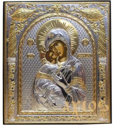 Icon of Vladimir. Rectangular, Silkscreen, Silver, Gold Decor - фото