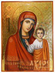Icon of the Kazan Mother of God, painting, oil, carving on gesso, gilding, 20x25 cm - фото