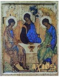 Icon of the Holy Trinity (large), MDF, veneer (ash-tree), ark, printing, lacquer, 20,5x26 cm - фото