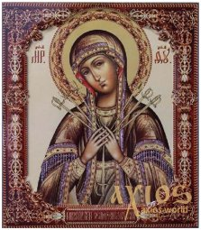 Icon of the Blessed Virgin Softening of evil hearts (large), MDF, veneer (ash-tree), ark, printing, varnish, 24x28 cm - фото
