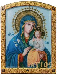 Icon of the Mother of God (large), MDF, veneer (ash-tree), ark, printing, decorative border, stones, lacquer, 20x26.5 cm - фото