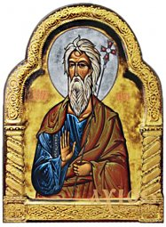 Icon Apostle Andrew the First-Called, MDF, figured, veneer (ash-tree), ark, polygraphy, decor, lacquer, 20x26 cm - фото