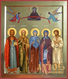 Handwritten family icon, 5 saints, 30x40 cm, gold - фото