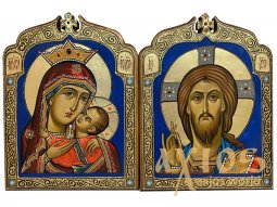 "The wedding couple is the icon of the ""Savior"" and the icon of the Mother of God ""The Virgin of Kasperovskaya"", gilding, inlay of stones, 29x29 cm - фото"