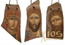 Triptych. Painted icons on the stone: Virgin, Savior, John the Baptist, 40x25 cm - фото
