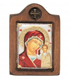 Icon of the Mother of God of Kazan, Italian frame №1, enamel, 6x8 cm, alder tree - фото