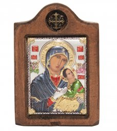 Icon of the Mother of God, Italian frame №1, enamel, 6x8 cm, alder tree - фото