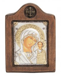 Icon of the Mother of God of Kazan, Italian frame №1, 6x8 cm, alder tree - фото
