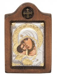 Icon of the Mother of God of Vladimir, Italian frame №1, 6x8 cm, alder tree - фото