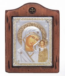 Icon of the Mother of God of Kazan, Italian frame №2, 13x17 cm, alder tree - фото