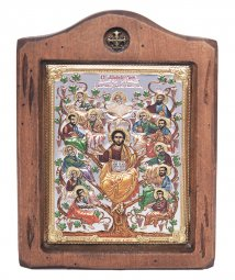Icon Savior and Apostles, Italian frame №2, enamel, 13x17 cm, alder tree - фото