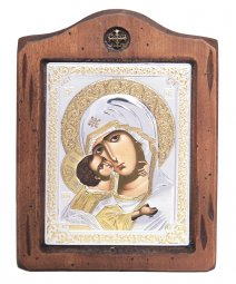 Icon of the Mother of God of Vladimir, Italian frame №2, 13x17 cm, alder tree - фото