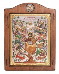 Icon Savior and Apostles, Italian frame №3, enamel, 17x21 cm, alder tree - фото