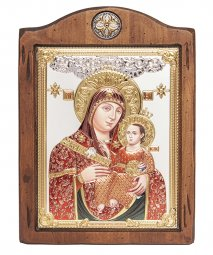 Icon of the Mother of God of Bethlehem, Italian frame №3, enamel, 17x21 cm, alder tree - фото