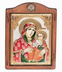 Icon of the Mother of God of Jerusalem, Italian frame №3, enamel, 17x21 cm, alder tree - фото
