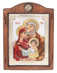 Icon The Holy Family, Italian frame №3, enamel, 17x21 cm, alder tree - фото