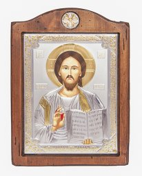 Icon of the Savior, 17x21 cm, Italian frame №3, alder tree, silvering - фото