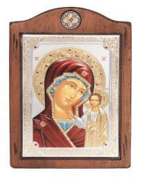 Icon of the Mother of God of Kazan, Italian frame №3, enamel, 17x21 cm, alder tree - фото