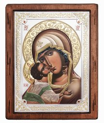 Icon of the Mother of God, Italian frame №4, enamel, 25x30 cm, alder tree - фото