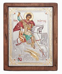 Icon of George the Victorious, Italian frame №4, enamel, 25x30 cm, alder tree - фото