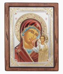 Icon of the Mother of God of Kazan, Italian frame №4, enamel, 25x30 cm, alder tree - фото