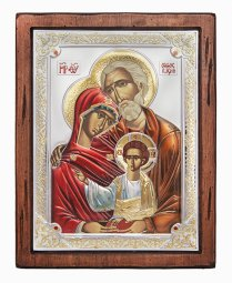 The Holy Family Icon, Italian frame №4, enamel, 25x30 cm, alder tree - фото