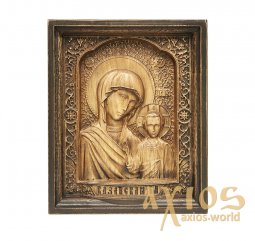 Carved wooden icon of Our Lady of Kazan 20x24 см - фото